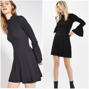 Topshop Ribbed Fluted Sleeve Dress US 8